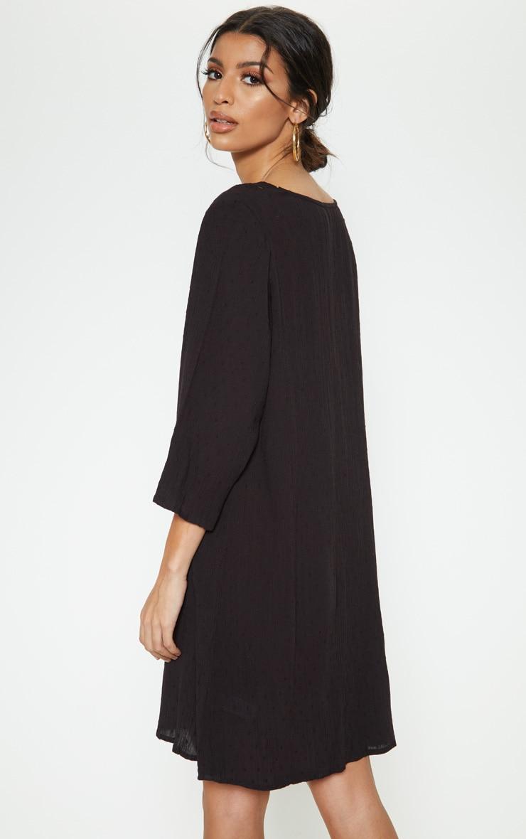 Black Crochet Trim Smock Dress 2