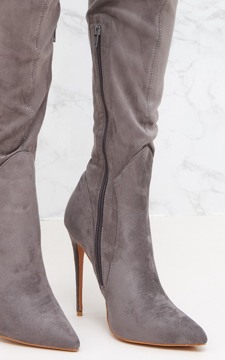 Grey Faux Suede Thigh High Heeled Boots 5