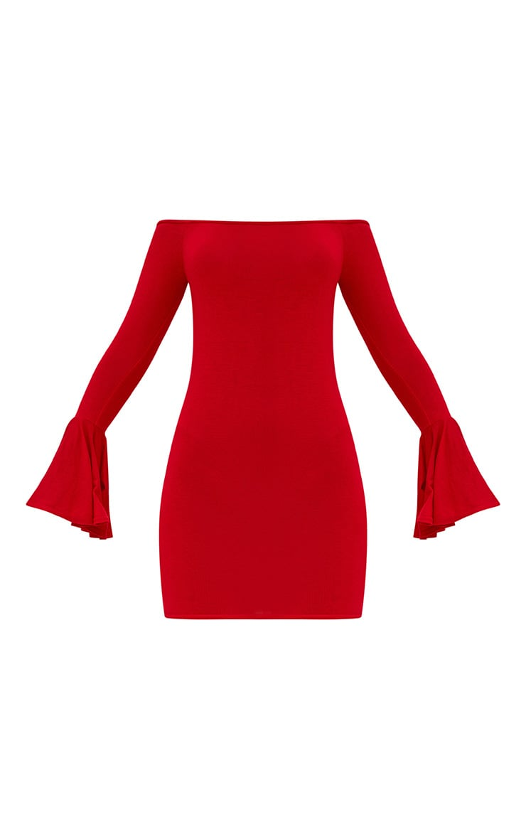 Red Frill Sleeve Bardot Bodycon Dress 3