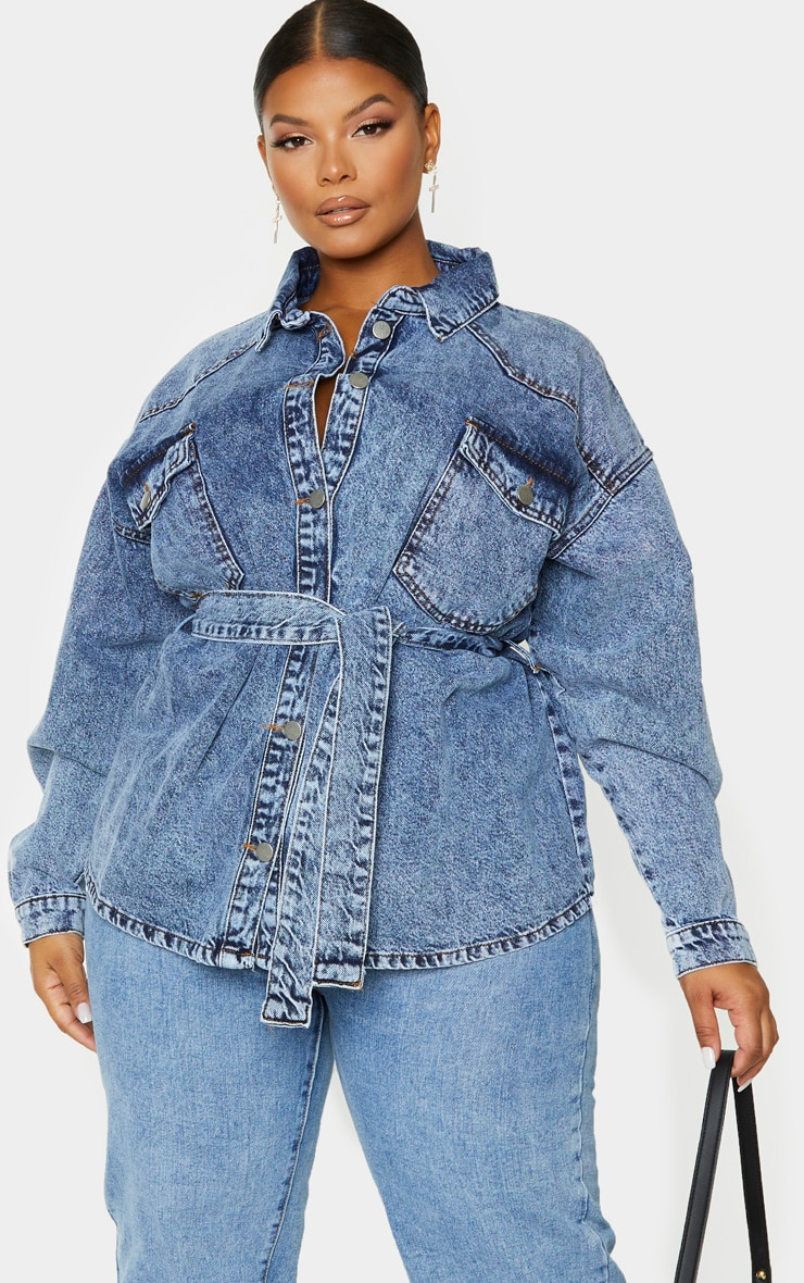 Plus Mid Blue Acid Wash Belted Denim Jacket 1