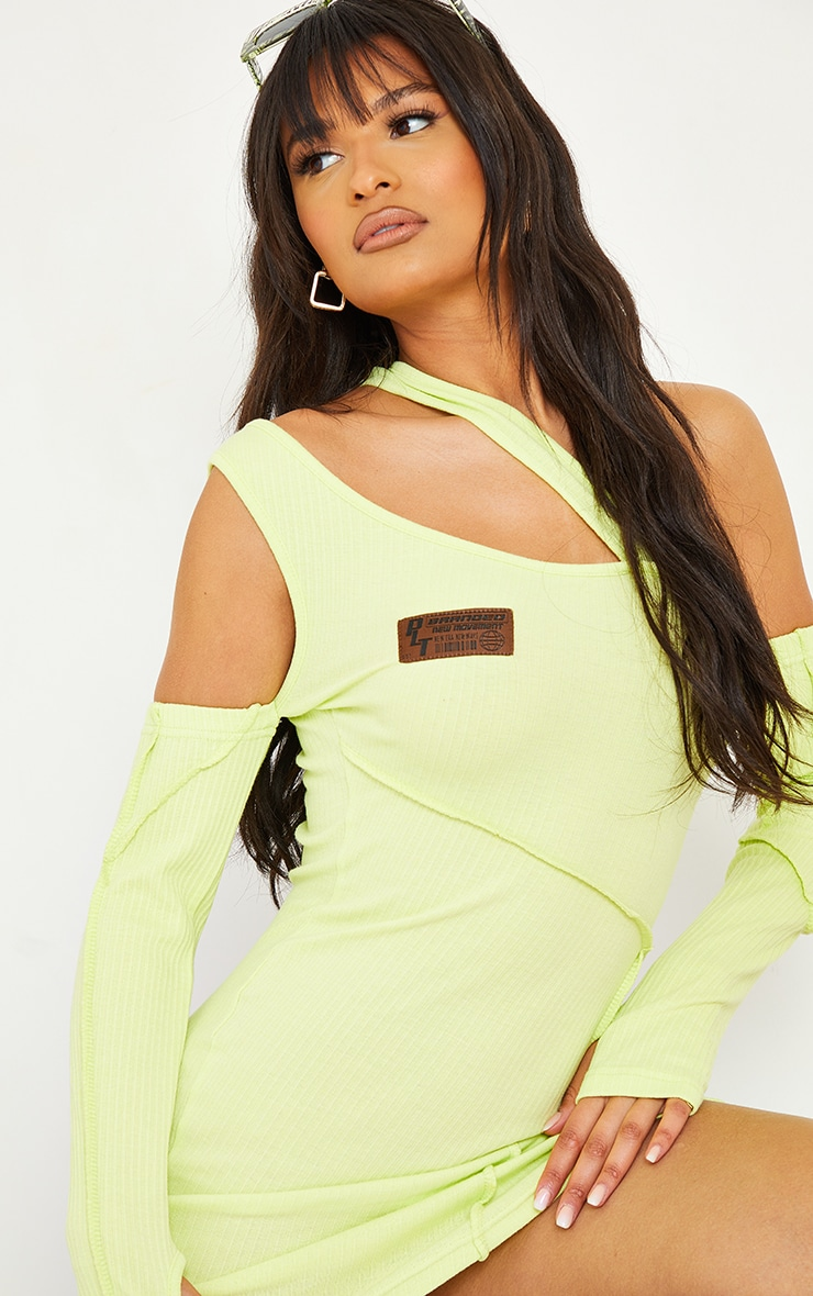 PRETTYLITTLETHING Lime Rib Binding Detail Cold Shoulder Bodycon Dress 4