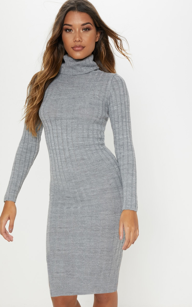 9e28f0724df Grey Ribbed Roll Neck Midi Dress image 1