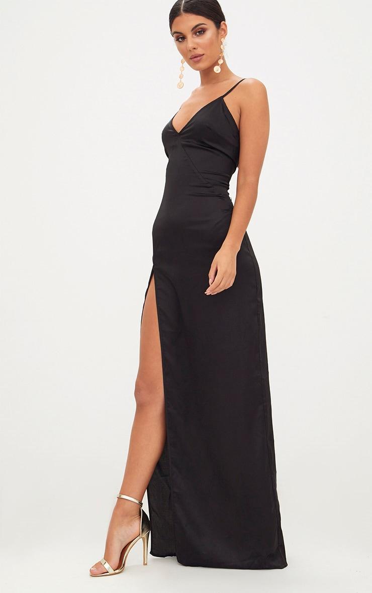 Black Satin Strappy Side Split Maxi Dress 4