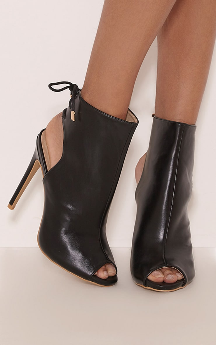 Joni Black Faux Leather Cut Out  Peep Toe Ankle Boots 1