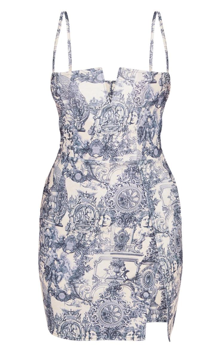 Blue Porcelain Print Extreme Thigh Split Panelled Plunge Bodycon Dress 3