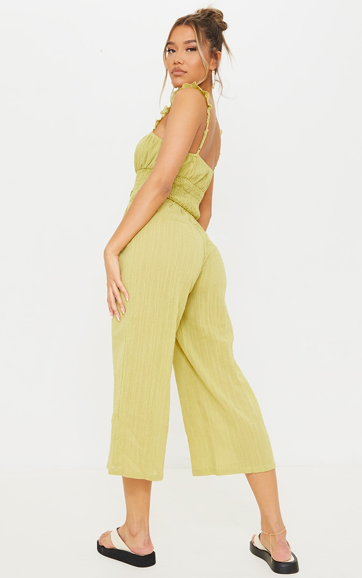 Lime Shirred Waist Frill Strap Culotte Jumpsuit 2