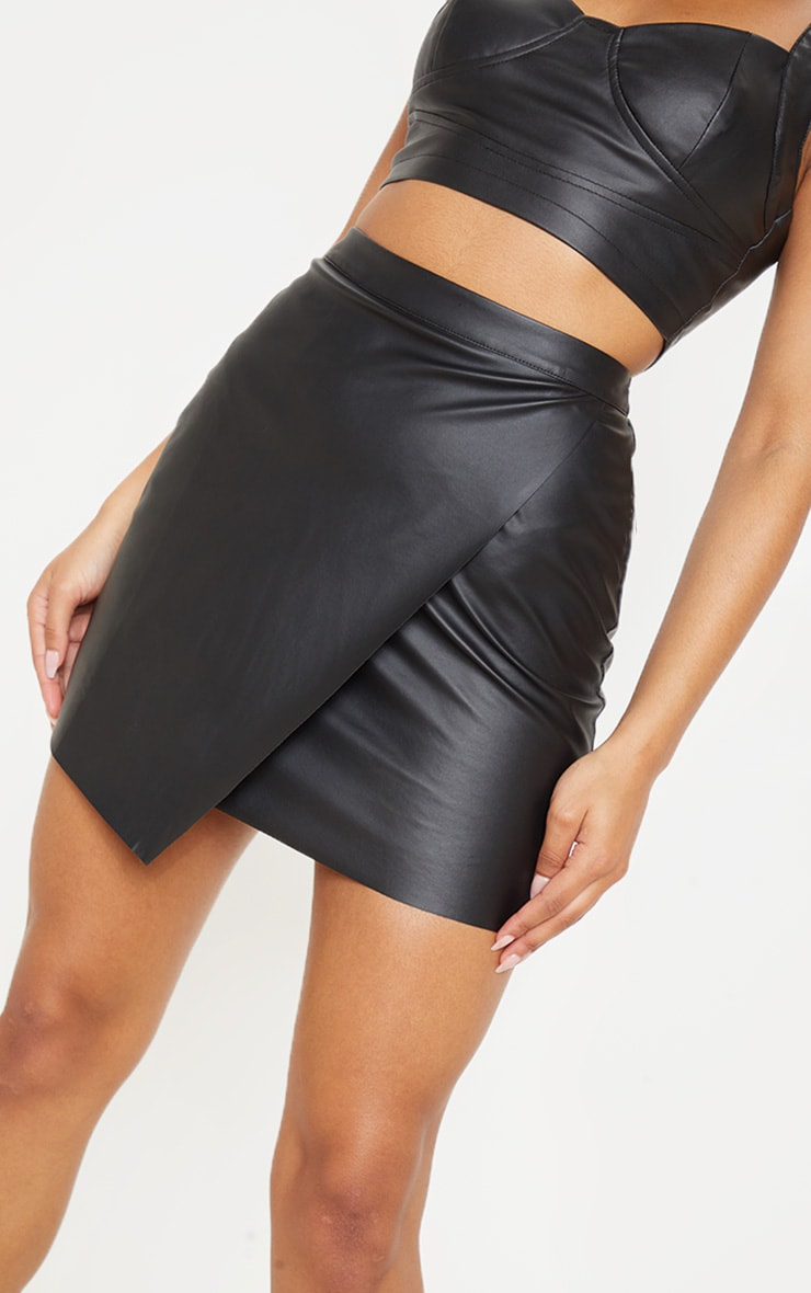 Luisa Black Faux Leather Wrap Mini Skirt  7