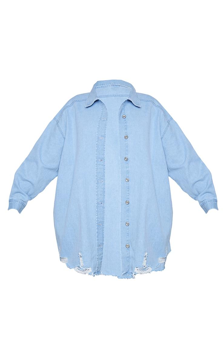 Plus Mid Blue Oversized Ripped Hem Denim Shirt 5