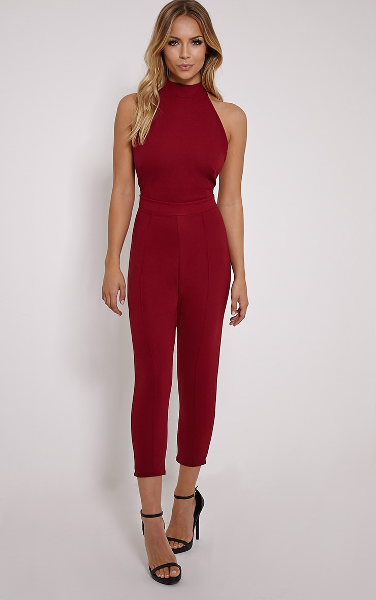 Paz Oxblood Backless Jumpsuit 1