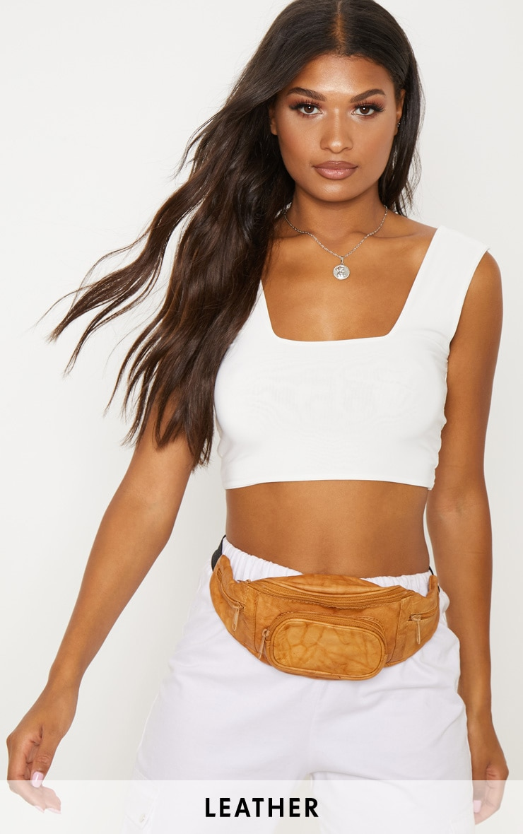 Tan Leather Front Pocket Bum Bag