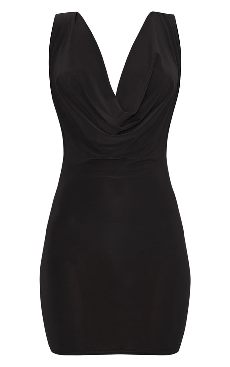 Black Slinky Extreme Cowl Front & Back Sleeveless Bodycon Dress 3