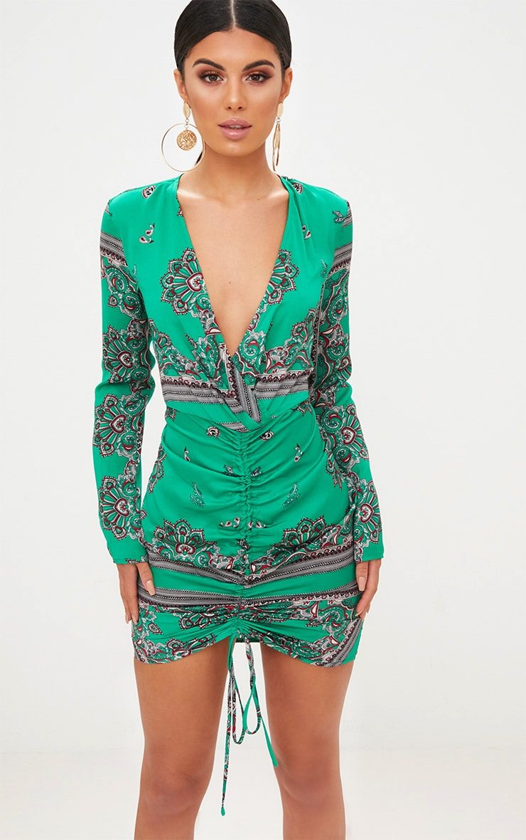 Green Scarf Print Satin Plunge Ruched Front Bodycon Dress 1