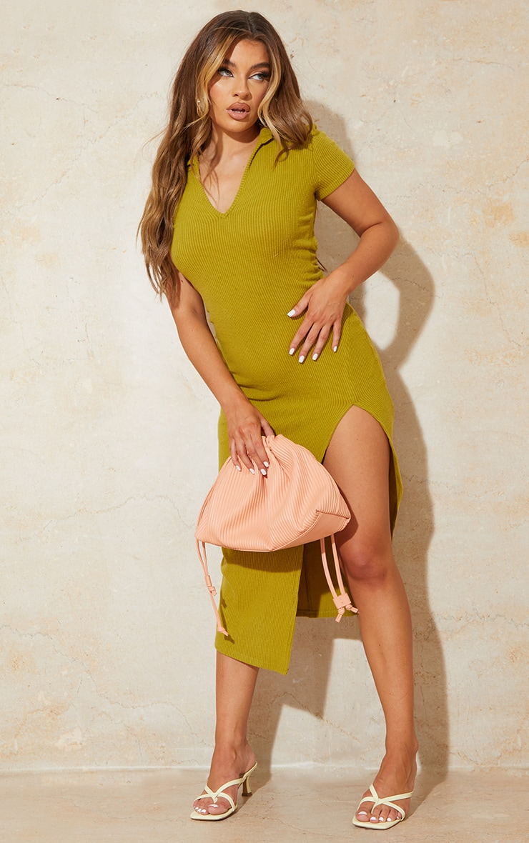 Chartreuse Short Sleeve Brushed Rib Open Back Detail Midaxi Dress 3