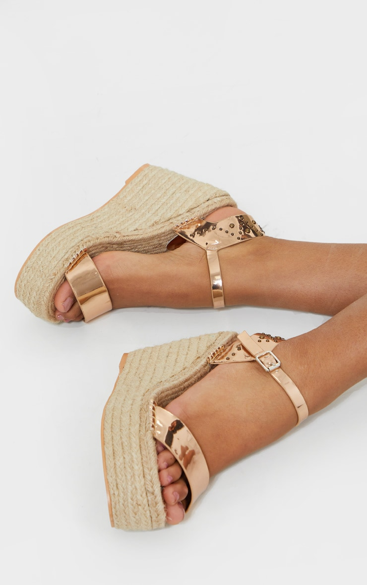 Rose Gold Espadrille Wedge Sandals 2