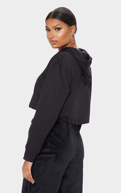 PRETTYLITTLETHING Black Pocket Toggle Crop Hoodie