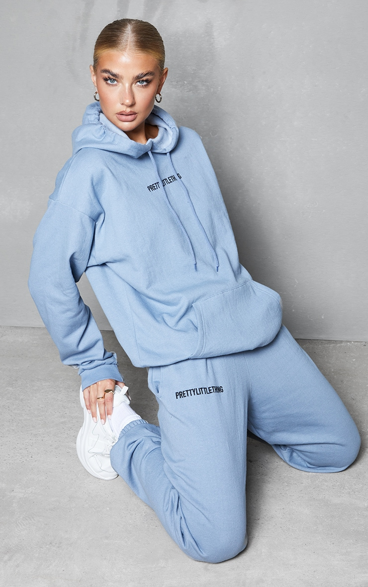 PRETTYLITTLETHING Blue Steel Embroidered Slogan Joggers 1