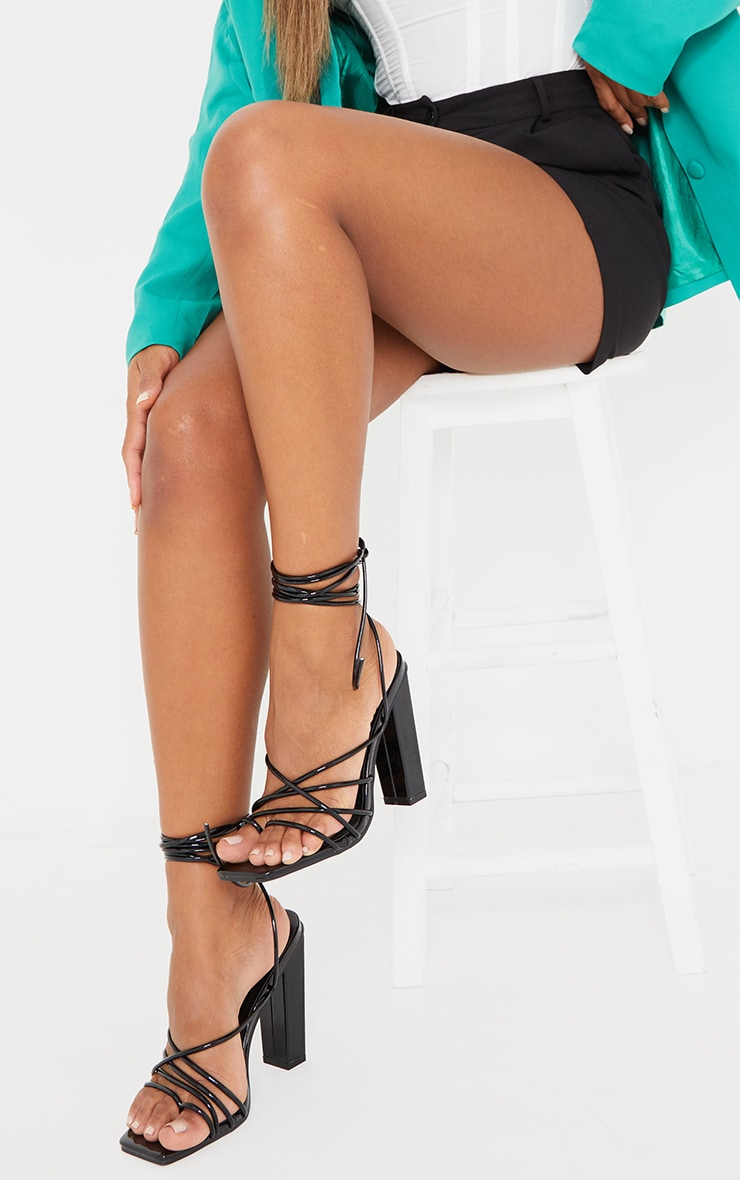 Black Wide Fit Patent Lace Up Block High Heels 2