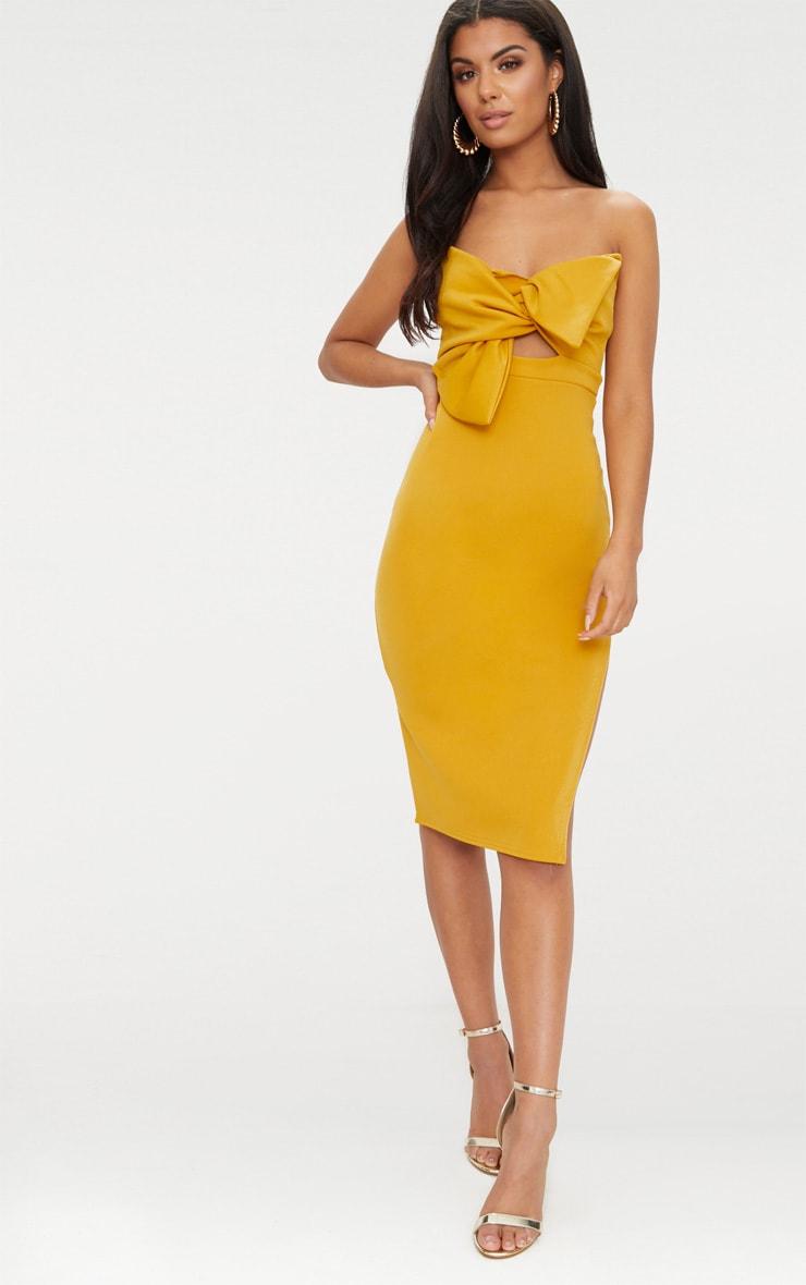 1ab8ee9b4ed Mustard Bow Detail Scuba Midi Dress image 1
