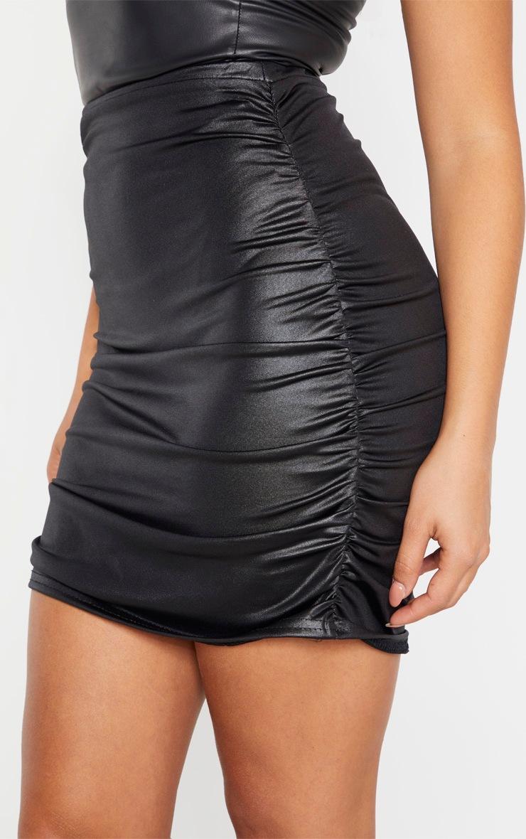 Petite Black Double Ruched Coated Mini Skirt 7