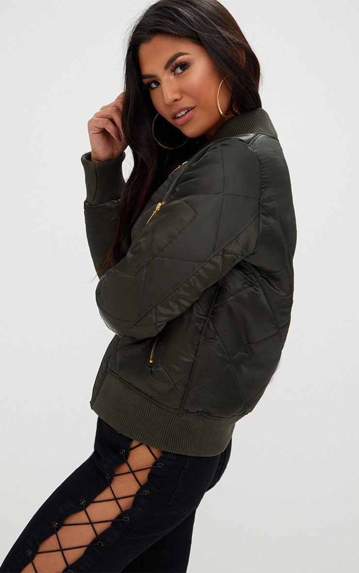 Khaki Satin Quilted Bomber Jacket 2