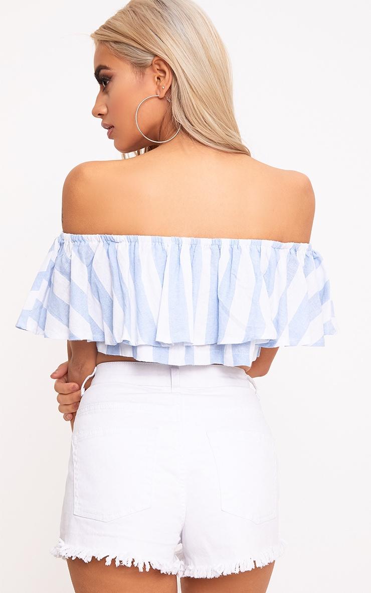 Sophina Cotton Blue Stripe Bardot Crop Top 2