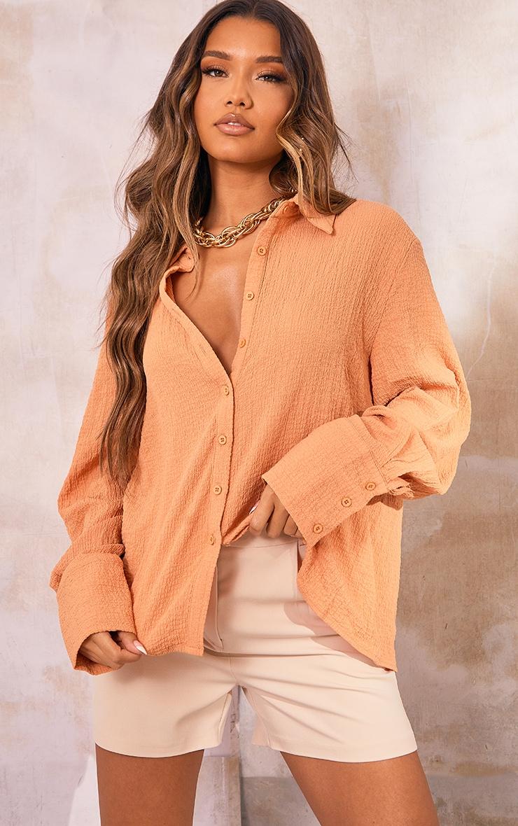 Terracotta Textured Oversized Shirt