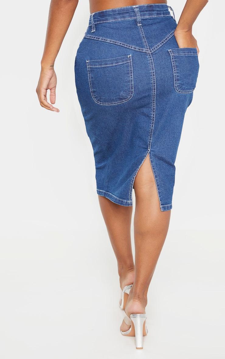 Shape Mid Wash Contrast Stitch Denim Midi Skirt 4