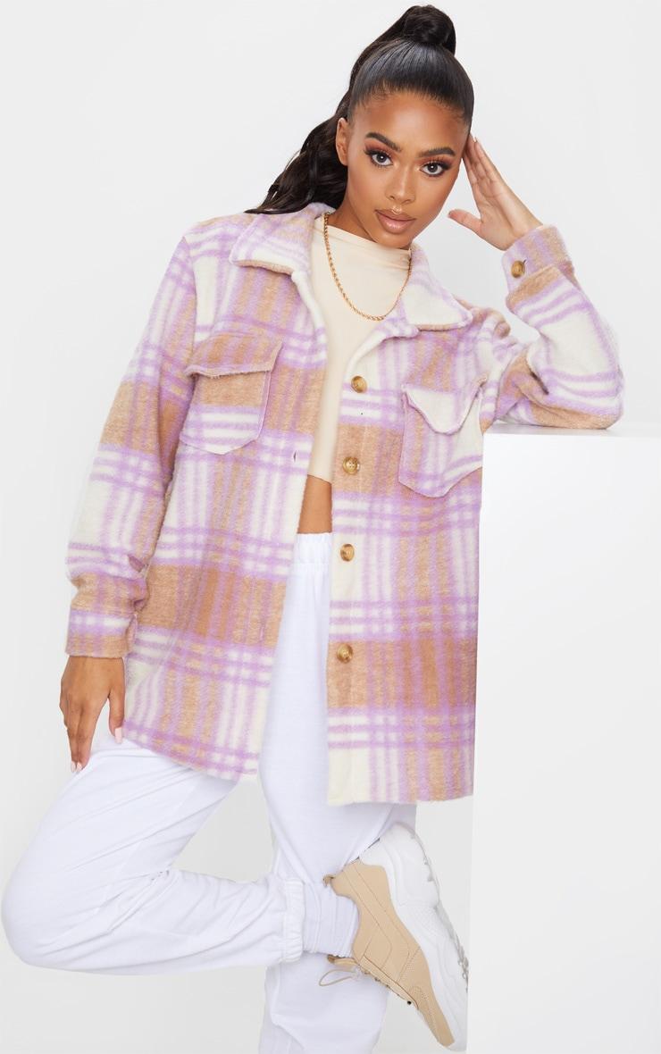 Lilac Brushed Check Print Shacket 1
