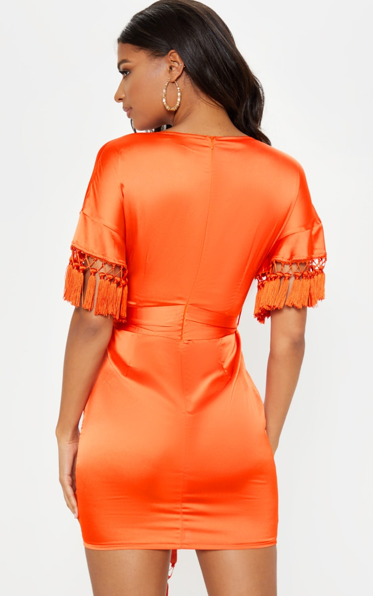Orange Satin Tassel Tie Waist Bodycon Dress 2