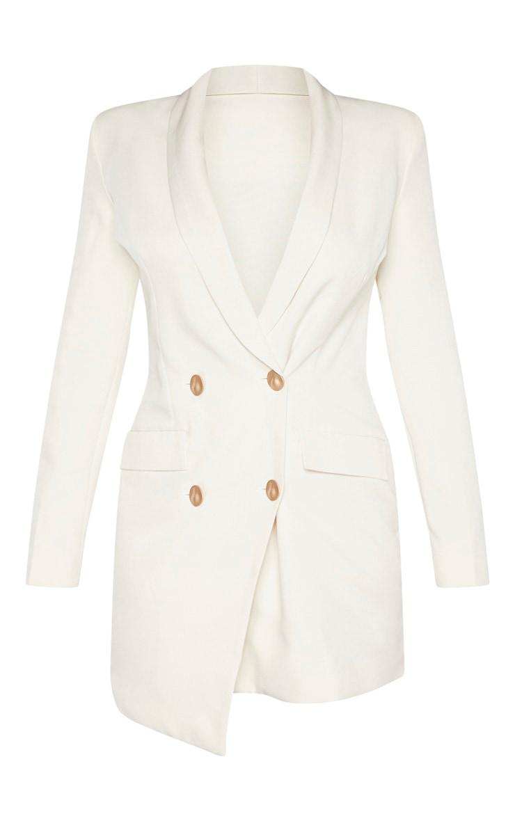 Petite Cream Button Woven Blazer Dress 3