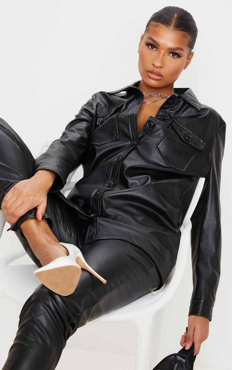 Black Faux Leather Longline Shirt Jacket 4