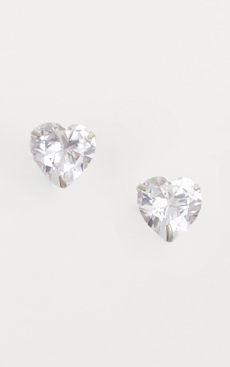 Sterling Silver Diamante Heart Studs 1
