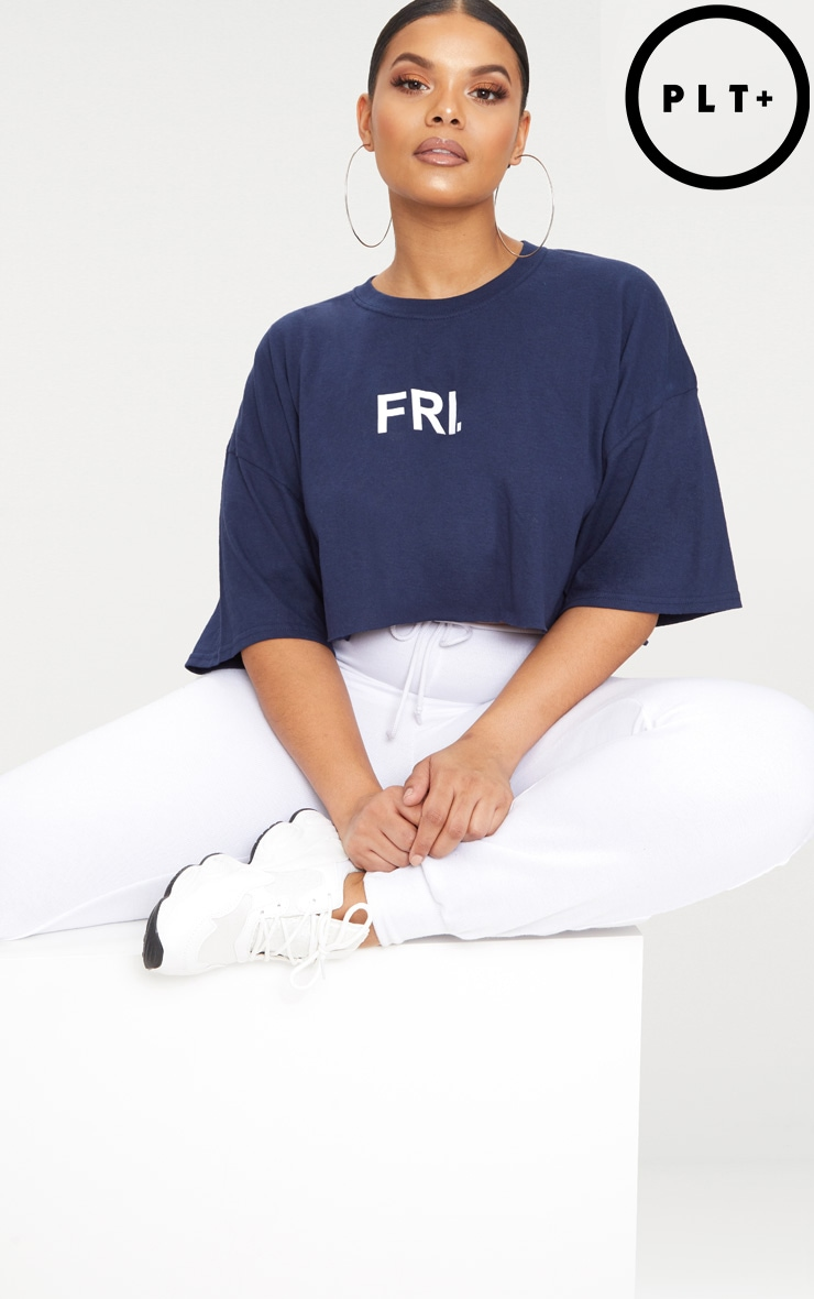 Plus Navy FRI Slogan Cropped T Shirt 1