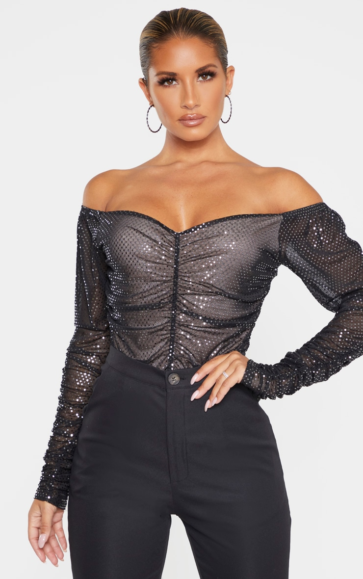 Black Sequin Ruched Bardot Long Sleeve Bodysuit 1