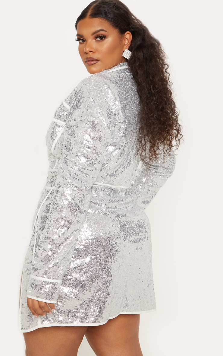 Plus Silver Sequin Piped Detail Bodycon Dress 3