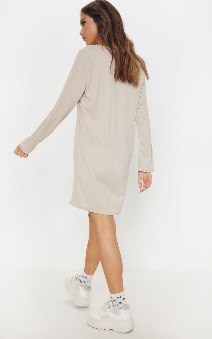 Sand V Neck Ribbed Long Sleeve T Shirt Dress 2