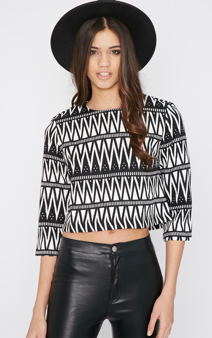 Clemence Monochrome Aztec Crop Top  3
