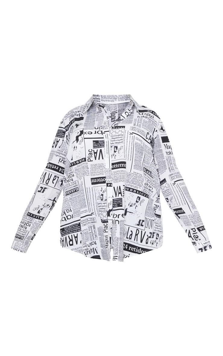 Plus Monochrome Newspaper Print Oversized Shirt 3