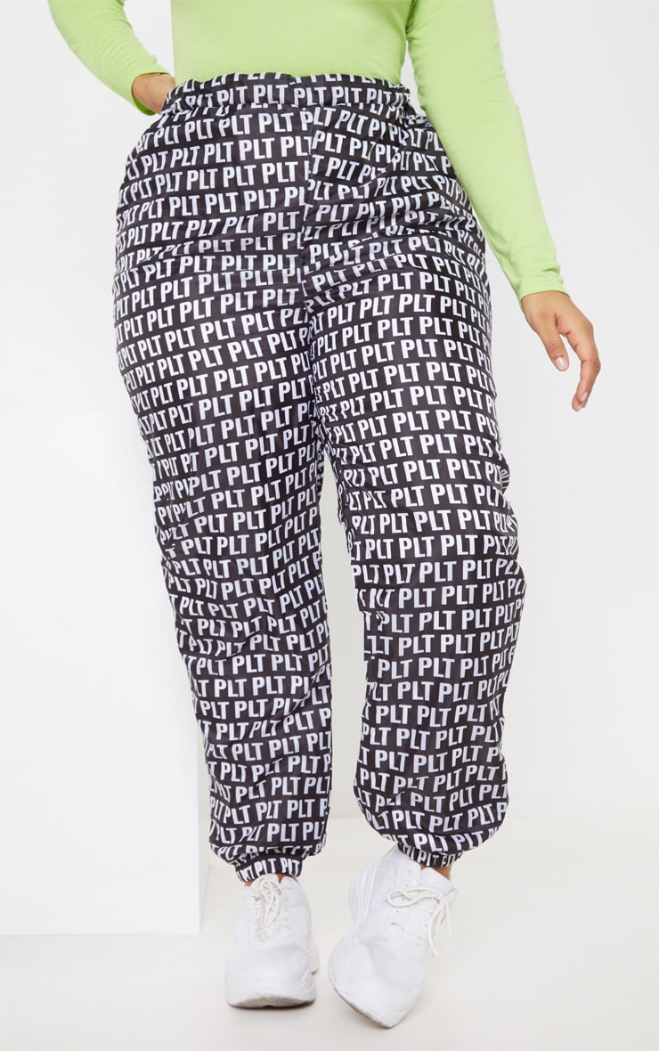 PLT Plus Black Monochrome Printed Shell Cuff Jogger 4