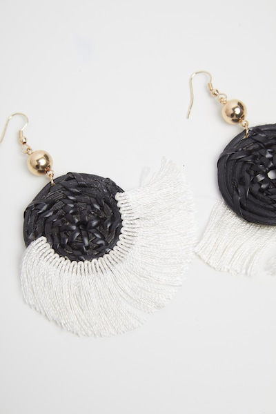 0176a5d72e0dc Black Straw And Fringe Circle Earrings