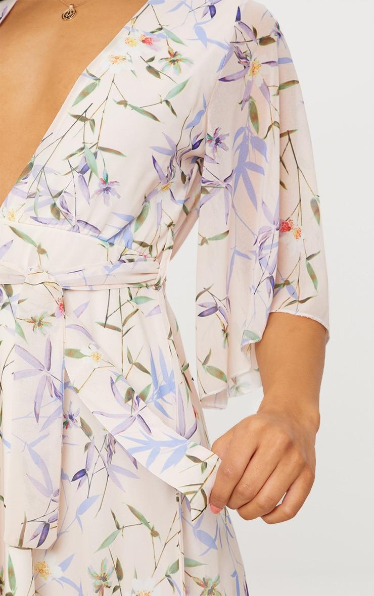 Cream Floral Plunge Skater Dress 5