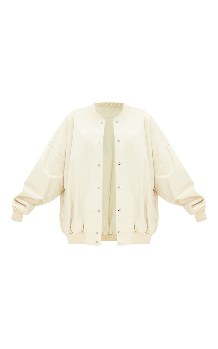 Beige Soft Touch Twill Extreme Oversized Bomber 5