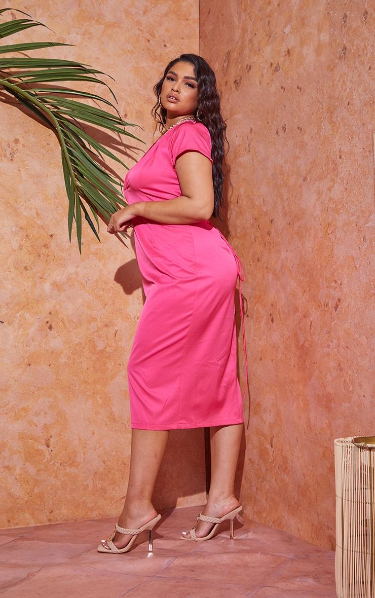 Plus Hot Pink Lace Up Back Satin Midi Dress 3