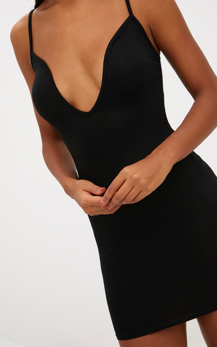 Black Strappy V Plunge Bodycon Dress 5