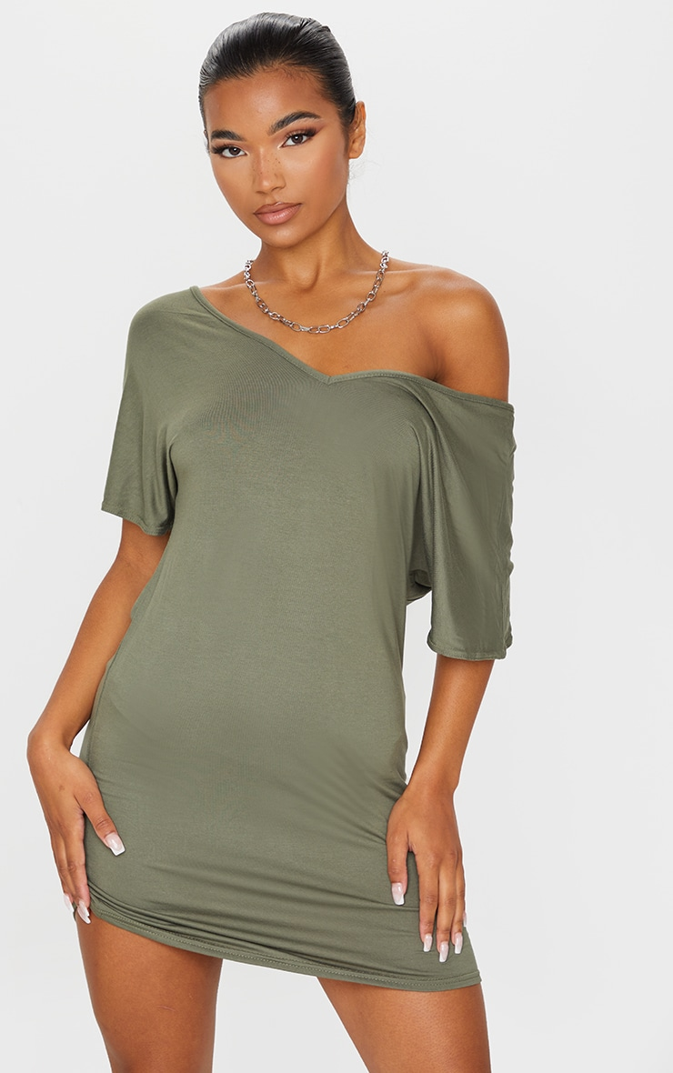 Basic Khaki V Neck T Shirt Dress 1