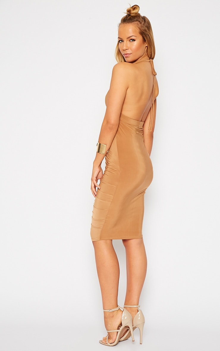 Lucienne Camel Plunge Ruched Front Dress 4
