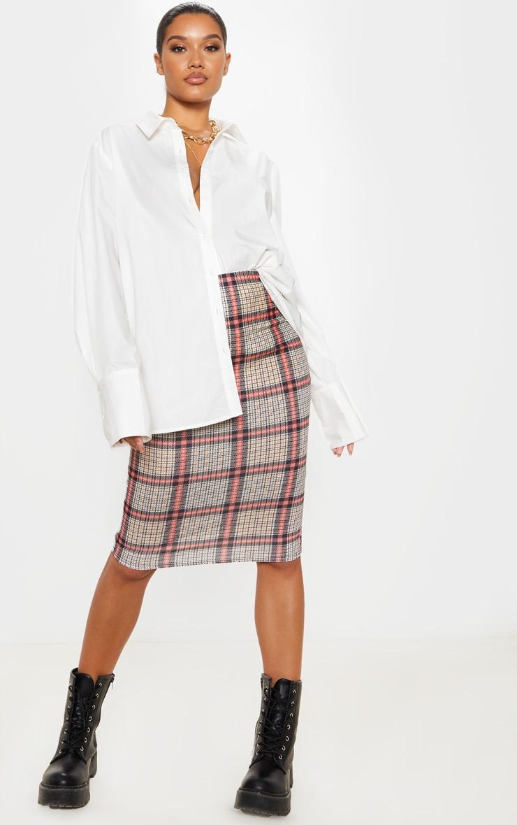 Check Print Midi Skirt  1