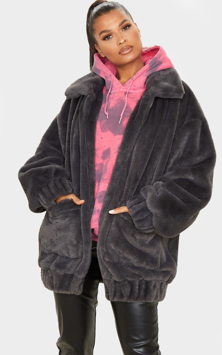 Grey Faux Fur Pocket Front Coat 1
