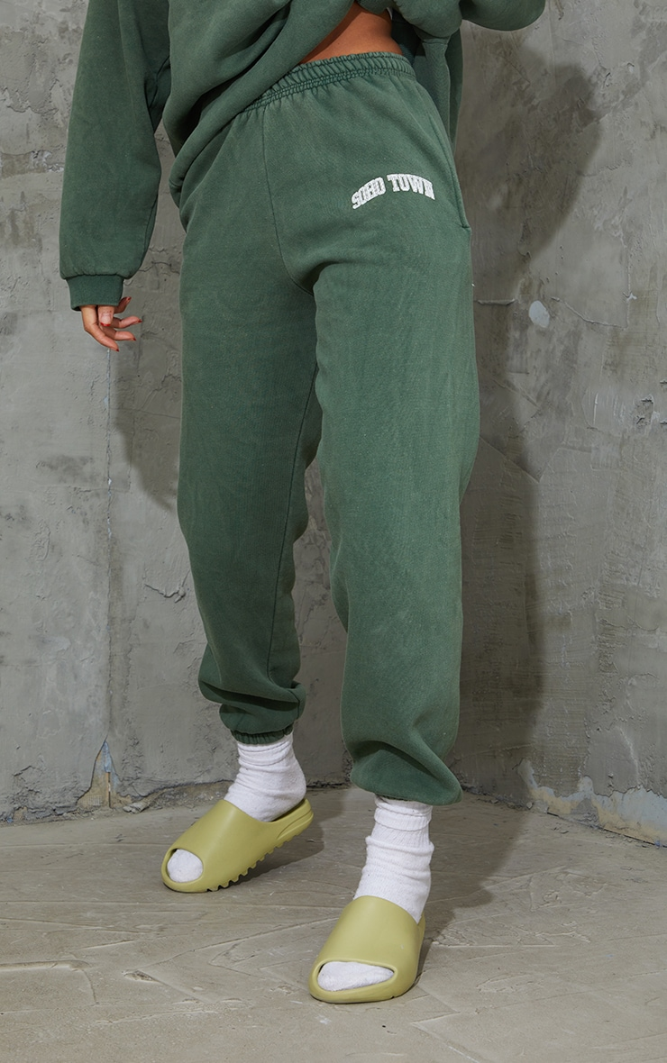 Green Washed Soho Town Printed Joggers 2