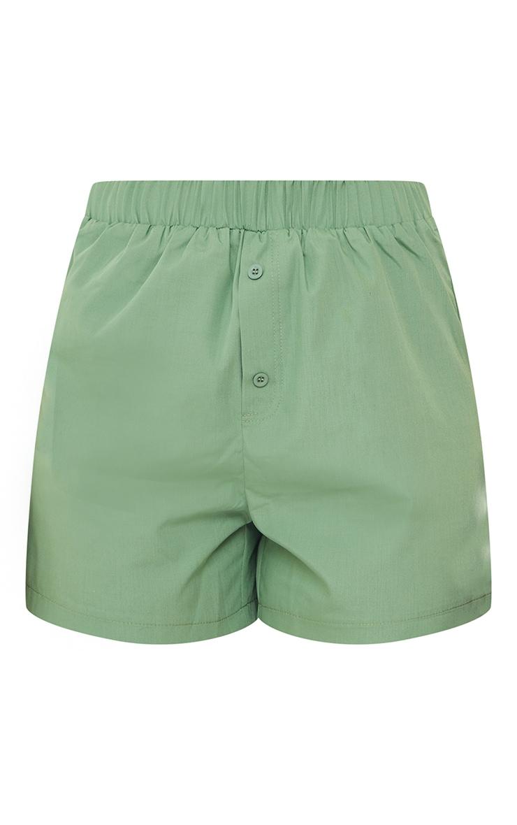 Sage Green Woven Boxer Detail Shorts 6
